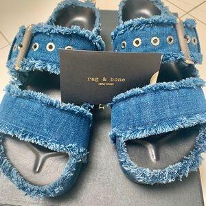 RAG & BONE blue denim Evin sandals. Make an offer!